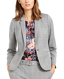 Calvin Klein Windowpane-Print Single-Button Blazer