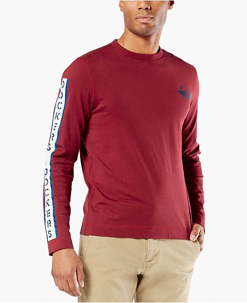 Dockers Men's Alpha Logo Graphic Long Sleeve T-Shirt