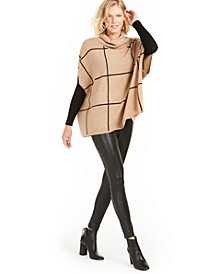 Cashmere Windowpane Poncho, Created For Macy's