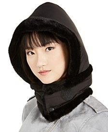 Logo Puffer Hood With Faux-Fur Trim