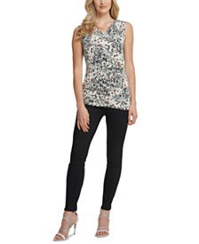 DKNY Printed Faux-Wrap Top