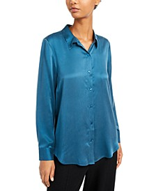 Silk Button-Down Shirt, Regular & Petite Sizes