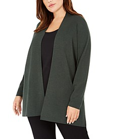 Plus Size Wool Long Cardigan