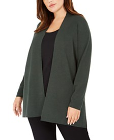 Eileen Fisher Plus Size Wool Long Cardigan