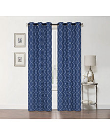 "Regal Home Lakewood Embroidery Blackout Grommet Curtain, 84"" x 50"""