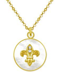 "Gold-Tone Crystal Fleur de Lis Mother-of-Pearl 18"" Pendant Necklace"