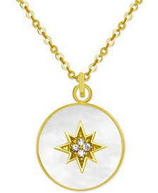 "PIXIE POSEY Gold-Tone Crystal Starburst Mother-of-Pearl 18"" Pendant Necklace"