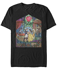 Disney Men's Beauty and The Beast Glass Portrait Short Sleeve T-Shirt
