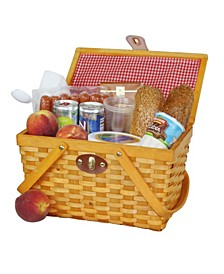 Picnic Basket Gingham Lined with Folding Handles