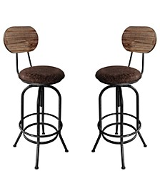 Adele Industrial Adjustable Barstool in Brushed with Fabric Seat and Rustic Pine Back - Set of 2