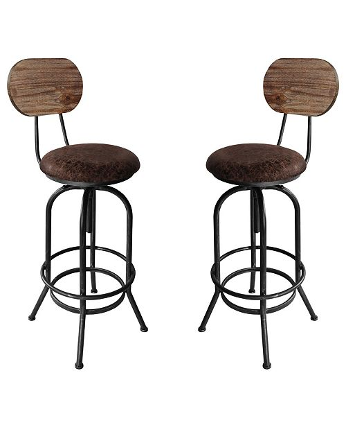 Today's Mentality Adele Industrial Adjustable Barstool in Brushed with Fabric Seat and Rustic Pine Back - Set of 2