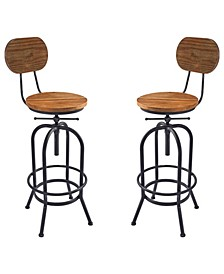 Adele Industrial Adjustable Barstool in Brushed with Rustic Pine Wood Seat and Back - Set of 2