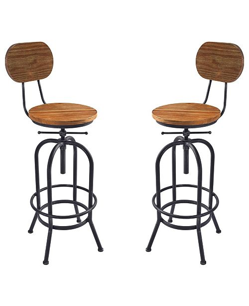 Marvelous Adele Industrial Adjustable Barstool In Brushed With Rustic Pine Wood Seat And Back Set Of 2 Squirreltailoven Fun Painted Chair Ideas Images Squirreltailovenorg