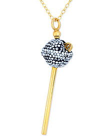 Simone I. Smith 18K Gold over Sterling Silver Necklace, Blue Crystal Mini Lollipop Pendant
