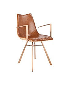 Shelly Contemporary Dining Chair in Copper Brushed Stainless Steel with Faux Leather and Wood Grained Faux Leather Back