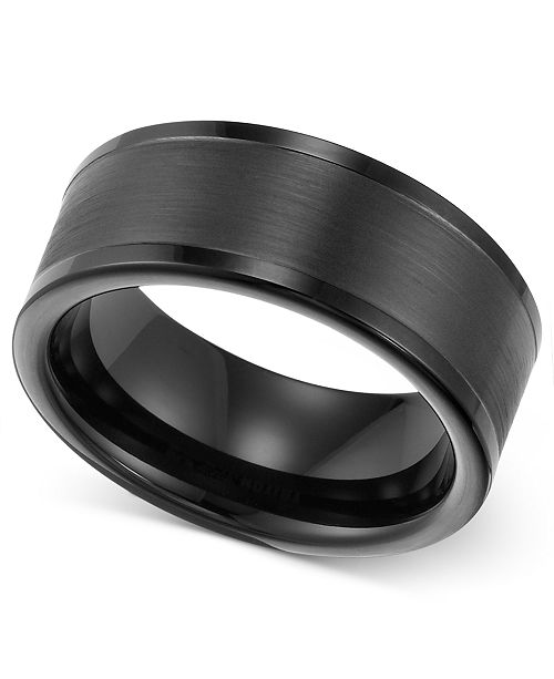 Triton Mens 8mm Black Tungsten Wedding Band Reviews Rings