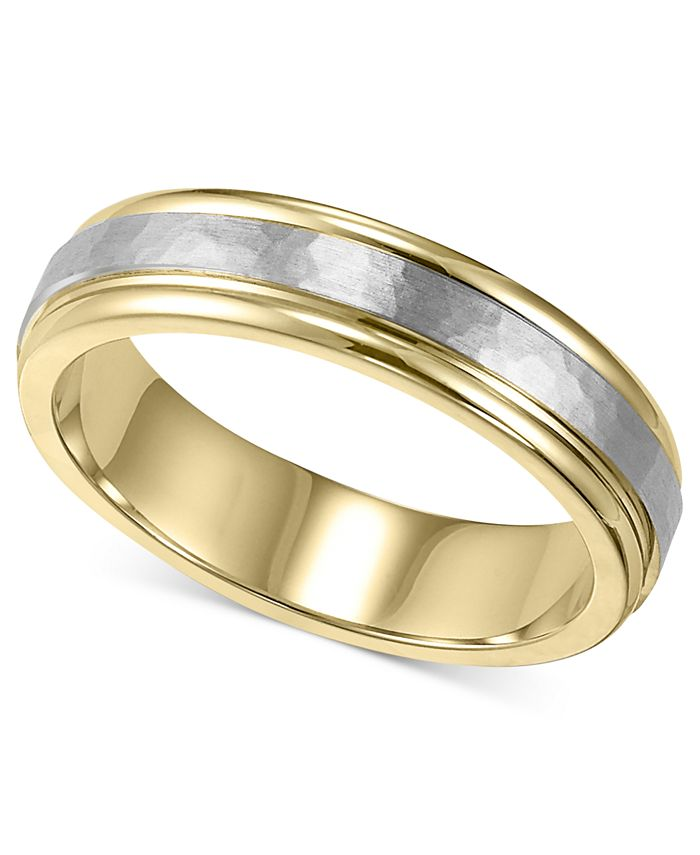 Macy's - Men's 14k Gold and 14k White Gold Ring, Two-Tone Hammered Wedding Band