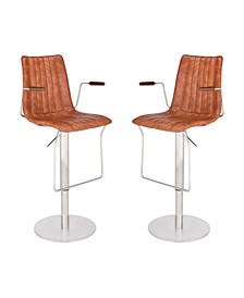 Andorra Modern Adjustable Barstool in Brushed Stainless Steel with Faux Leather and Walnut Arms - Set of 2