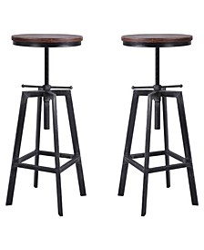 Thomas Industrial Backless Adjustable Metal Barstool in Brushed with Rustic Pine Wood Seat - Set of 2