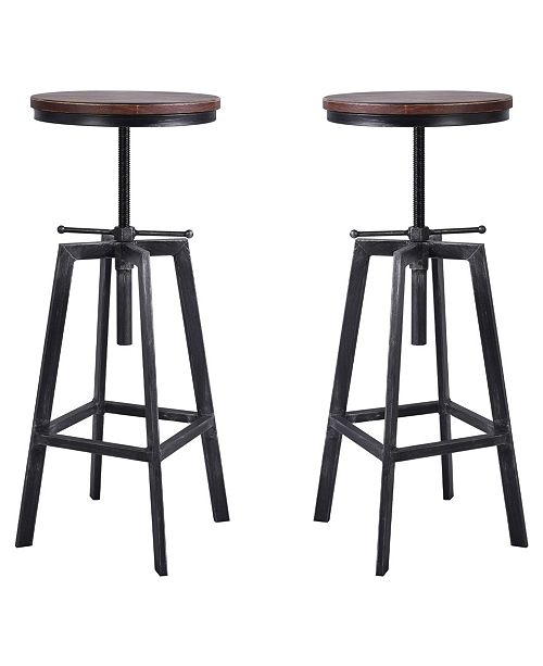 Pleasing Thomas Industrial Backless Adjustable Metal Barstool In Brushed With Rustic Pine Wood Seat Set Of 2 Squirreltailoven Fun Painted Chair Ideas Images Squirreltailovenorg