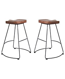 Sofia Industrial Backless Metal Barstool in Brushed with Rustic Wood Seat - Set of 2