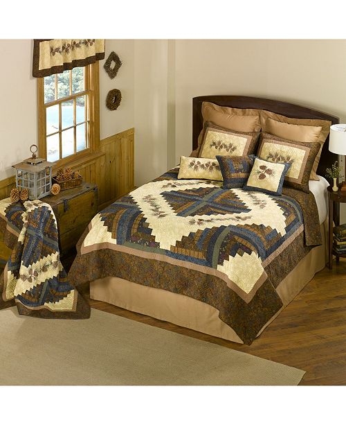 American Heritage Textiles Cabin Raising Pine Cone Cotton Quilt Collection