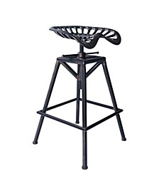 Tractor Industrial Backless Adjustable Barstool in Copper Brushed