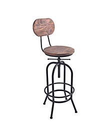 Adele Industrial Adjustable Barstool in Brushed with Rustic Pine Wood Seat and Back