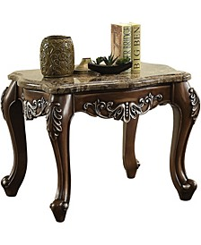 Wooden End Table with Marble Top