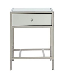 Benzara Mirrored End Table with Metal Framework