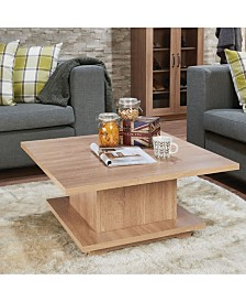 Benzara Contemporary Wooden Coffee Table with Storage Compartment