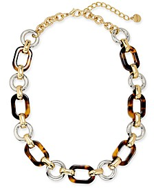 "Two-Tone & Tortoise-Look Chain Link Collar Necklace, 17"" + 2"" extender, Created for Macy's"