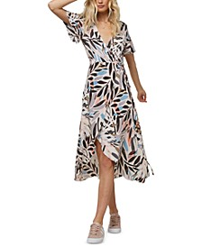 Juniors' Carina Printed Wrap Midi Dress