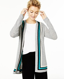 Charter Club Cashmere Border Duster Cardigan, Created for Macy's