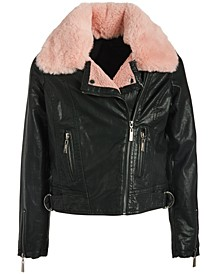 Big Girls Faux-Fur-Collar Faux-Leather Jacket