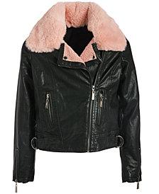 Jou Jou Big Girls Faux-Fur-Collar Faux-Leather Jacket