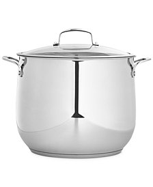 Belgique Polished Stainless Steel 16-Qt. Covered Stockpot, Created for Macy's