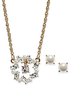 "Gold-Tone Crystal & Imitation Pearl Pendant Necklace & Stud Earrings Set, 17"" + 2"" extender, Created For Macy's"