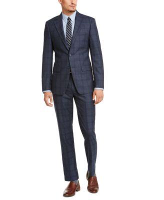 Men's Slim-Fit Blue Plaid Suit Jacket