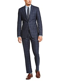 Men's Slim-Fit Blue Plaid Suit Separates