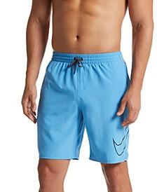 "Men's Perforated Swoosh Stretch 9"" Swim Trunks"