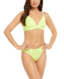Calvin Klein Women's Neon Modern Cotton Unlined Triangle Bra & Thong, First At Macy's