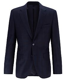 BOSS Men's Jewels Regular-Fit Plain-Check Virgin Wool Jacket