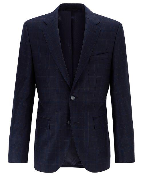 Hugo Boss BOSS Men's Jewels Regular-Fit Plain-Check Virgin Wool Jacket