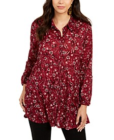 Printed Button-Down Tunic Shirt, Created for Macy's