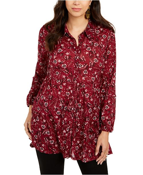 Style & Co Petite Floral-Print Tiered Shirt, Created for Macy's