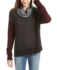 Juniors' Colorblocked Cowl-Neck Sweater