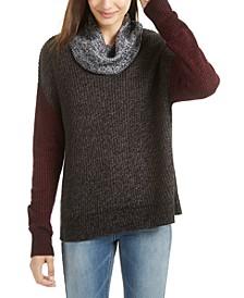 Juniors' Colorblocked Cowl-Neck Sweater