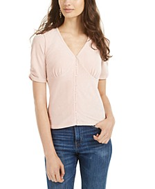 Juniors' Ruched-Sleeve Rib-Knit Velvet Top, Created for Macy's