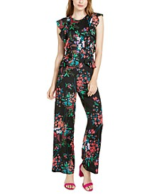 Floral-Print Ruffled Jumpsuit